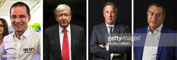 Recent pictures of Mexico's presidential candidates Ricardo Anaya for the 'Mexico al Frente' coalition Andres Manuel Lopez Obrador for the 'Juntos...