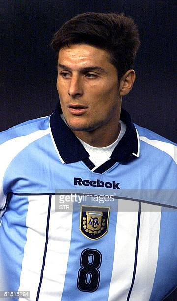 Recent portrait of Argentinian national soccer team midfielder Javier Zanetti Argentina is qualified for the 2002 FIFA World Cup taking place in...