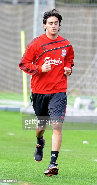 Recent signing Alberto Aquilani of Liverpool trains for the first time during a training session at Melwood on September 25 2009 in Liverpool England
