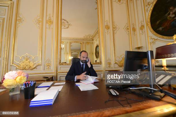 Recently appointed French Prime Minister Edouard Philippe in his office in Matignon May 16 2017