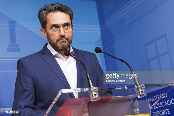 Recently appointed Minister of Culture and Sports Maxim Huerta gives a press conference to announce his resignation on June 13 2018 in Madrid Spain...
