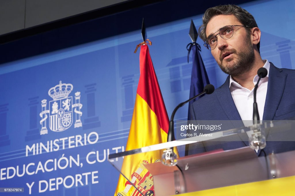 Recently appointed Minister of Culture and Sports, Maxim Huerta, gives a press conference to announce his resignation on June 13, 2018 in Madrid, Spain. Huerta has resigned after only 6 days in office, after it has been reported that he owes money to the Spanish tax authorities because he incorrectly recorded his financial statements between 2006 and 2008.