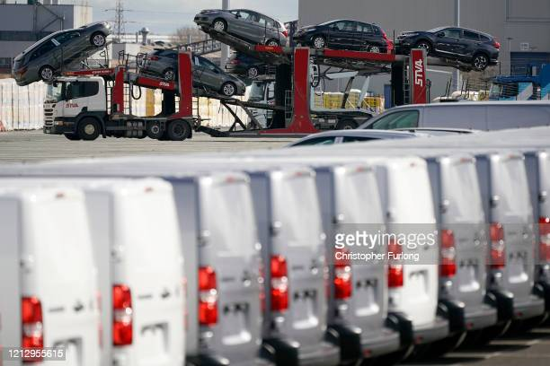 Recently assembled Vauxhall vehicles are stored in the distribution yard at the Vauxhall car factory on March 17 2020 in Ellesmere Port England The...