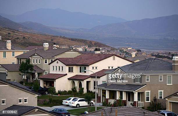 Recently built homes are seen in suburban neighborhoods on top of the San Andreas Rift Zone the system of depressions in the ground between the...