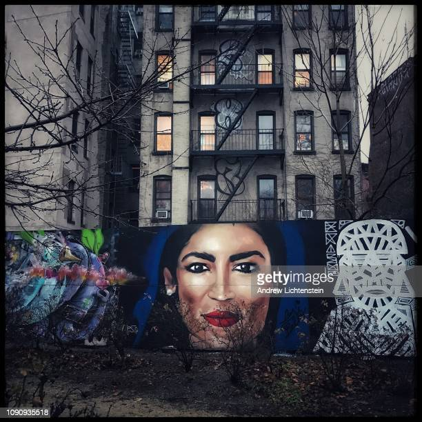 Recently elected New York congresswoman Alexandria OcasioCortez's image decorates a mural painted in a park on January 5 2019 along Houston Street in...