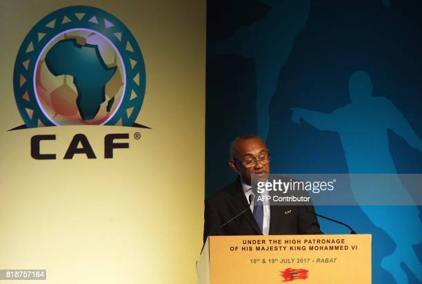 Recently elected president of the African Football Confederation Ahmad Ahmad gives a speech during the first ever African Football Symposium in...