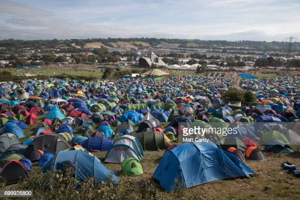 Recently erected tents are seen at the Glastonbury Festival site at Worthy Farm in Pilton on June 22 2017 near Glastonbury England The largest...