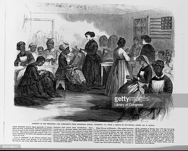 Recently freed female slaves take sewing classes at the Freedmen's Union Industrial School, Richmond, Virginia, September 22, 1866.   Location:...