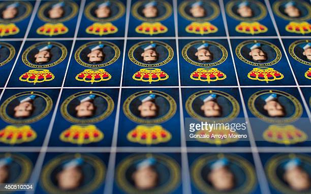 Recently printed stamps for the Prince Felipe coronation are displayed at LK Merchandising Factory on June 12, 2014 in Colmenar Viejo, Spain. LK...