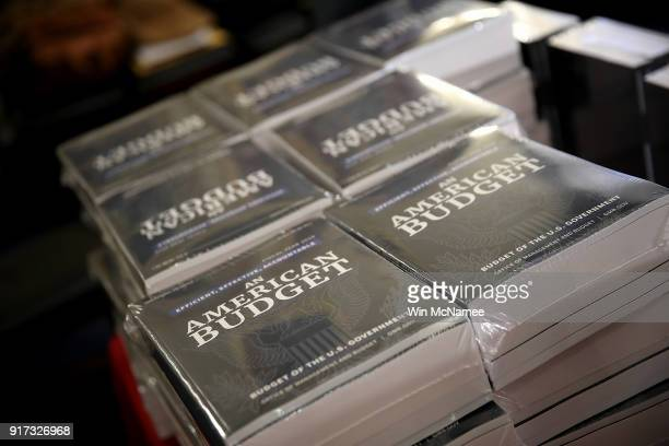Recently released printed copies of US President Donald Trump's fiscal year 2019 budget is shown at the House Budget Committee on Capitol Hill...