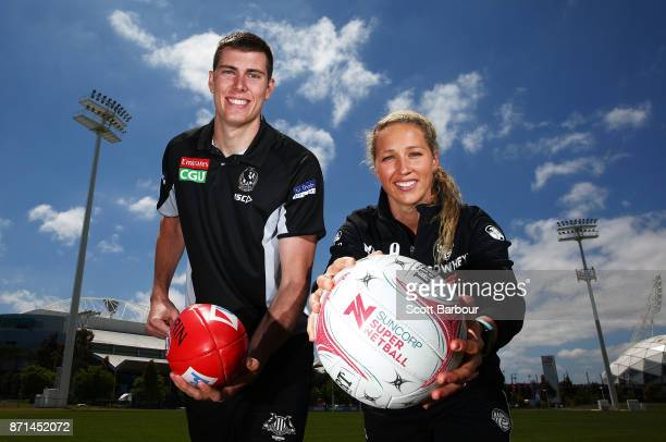 Recently resigned ruckman/forward Mason Cox of the Magpies AFL team and the Magpies' Super Netball latest recruit Erin Bell pose during a combined...