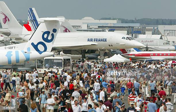 A recently retired Air France Concorde is among the planes on display at the Paris Air Show June 15 2003 in Le Bourget north of Paris France Due to...