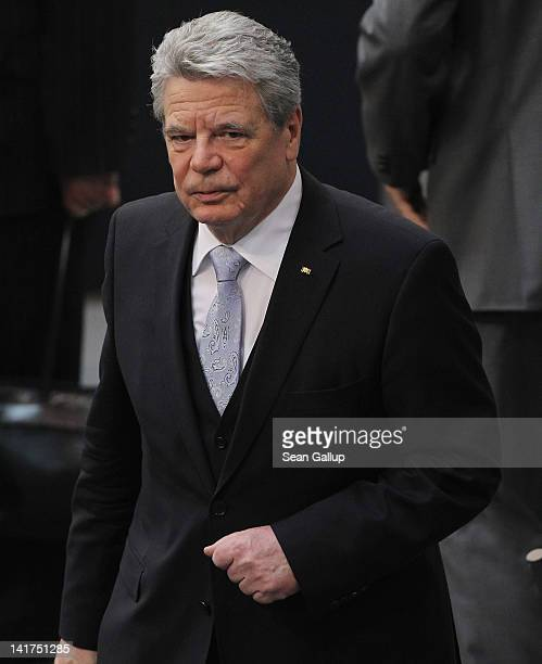 Recentlyelected new German President Joachim Gauck prepares to depart after he took his oath of office at the Bundestag on March 23 2012 in Berlin...