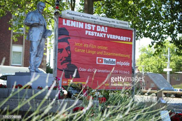 Recently-erected statue of Vladimir Lenin stands in front of the headquarters of the far-left Marxist-Leninist Party of Germany on June 26, 2020 in...