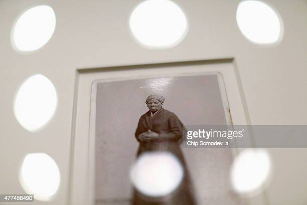 A recentlyfound photograph of escaped slave abolitionist and Union spy Harriet Tubman that was acquired by the Smithsonian is displayed before a...