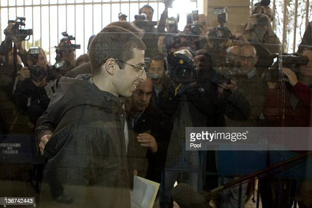Recentlyfreed Israeli soldier Gilad Shalit leaves after a meeting with French Ambassador to Israel Christophe Bigot at the French embassy January 11...