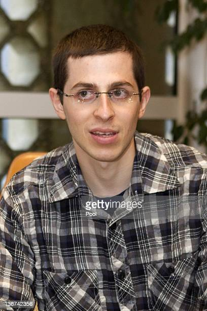 Recentlyfreed Israeli soldier Gilad Shalit meets with French Ambassador to Israel Christophe Bigot at the French embassy January 11 2012 in Tel Aviv...