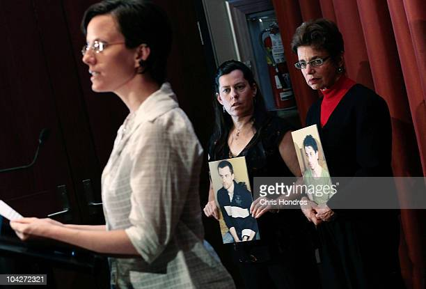 Recentlyreleased hiker Sarah Shourd gives a statement while mothers of stillimprisoned hikers Cindy Hickey and Laura Fattal look on holding pictures...