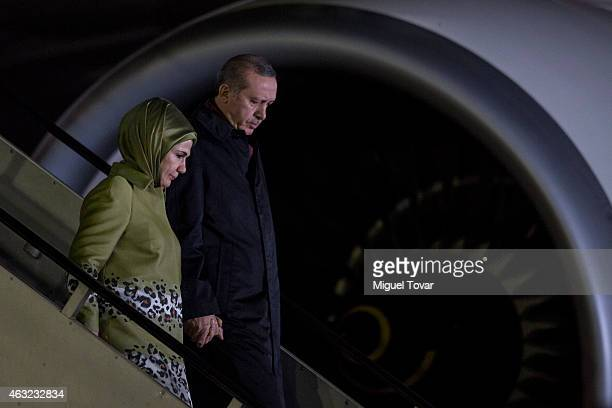 Recep Tayyip Erdogan president of Turkey arrives with his Wife at the Presidential Hangar in Mexico's International Airport on February 11 2015 in...