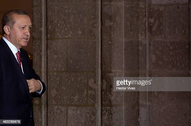 Recep Tayyip Erdogan president of Turkey during the comercial tourist and educational agreements between Mexico and Turkey at Palacio Nacional on...