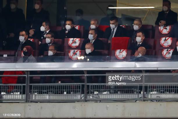 Recep Tayyip Erdogan President of Turkey during the World Cup Qualifier match between Turkey and Latvia at Ataturk Olympic Stadium on March 30, 2021...