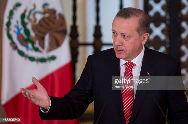 Recep Tayyip Erdogan president of Turkey gestures during the comercial tourist and educational signing agreements between Mexico and Turkey at...