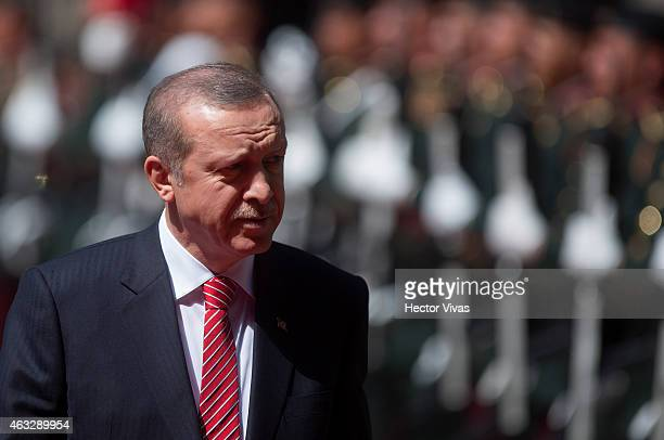 Recep Tayyip Erdogan president of Turkey looks on during the reception with Enrique Peña Nieto president of Mexico at Palacio Nacional on February 12...