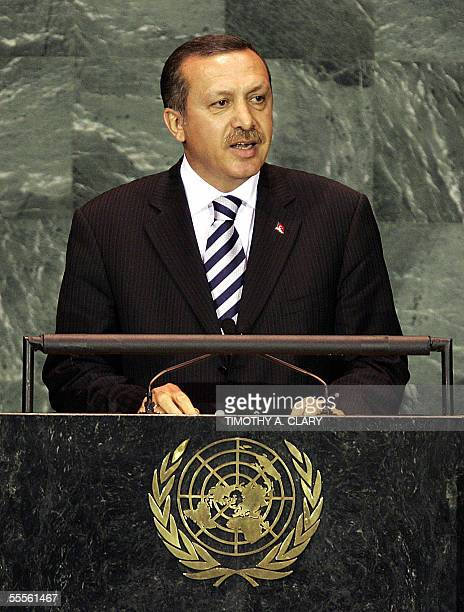 Recep Tayyip Erdogan Prime Minister of the Republic of Turkey speaks during the 2005 World Summit 15 September at the 60th session of the United...