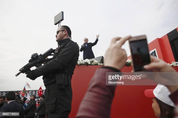 Recep Tayyip Erdogan Turkey's president center speaks during a 'Yes' referendum campaign rally in Yenikapi square Istanbul Turkey on Saturday April 8...