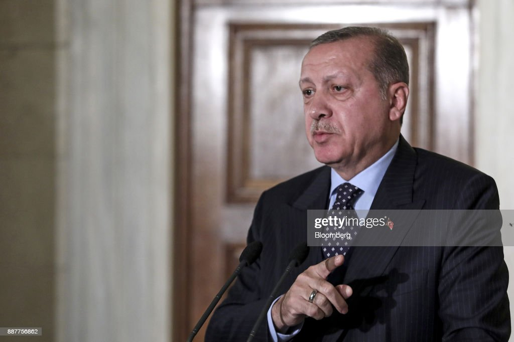 Recep Tayyip Erdogan, Turkey's president, gestures as he speaks during a news conference at Maximos Mansion in Athens, Greece, on Thursday, Dec. 7, 2017. Erdogan starts a two-day visit to Greece that includes a meeting with Greek Prime Minister Alexis Tsipras. Photographer: Yorgos Karahalis/Bloomberg via Getty Images