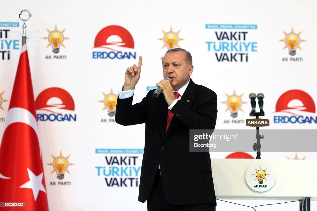 Turkey's President Recep Tayyip Erdogan Speaks At Election Campaign Rally