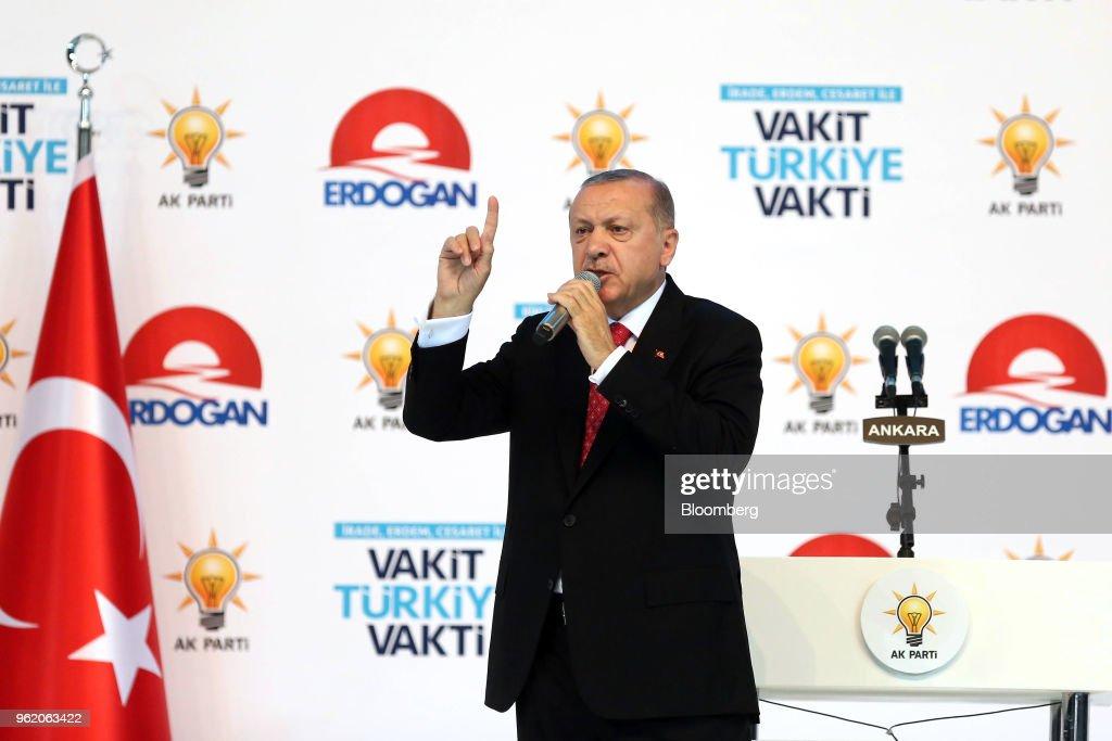 Turkey's President Recep Tayyip Erdogan Speaks At Election Campaign Rally