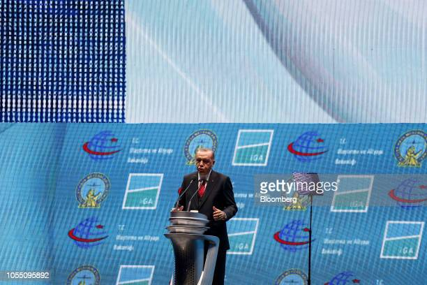 Recep Tayyip Erdogan Turkey's president speaks during the official opening for the new Istanbul Airport in Istanbul Turkey on Monday Oct 29 2018...