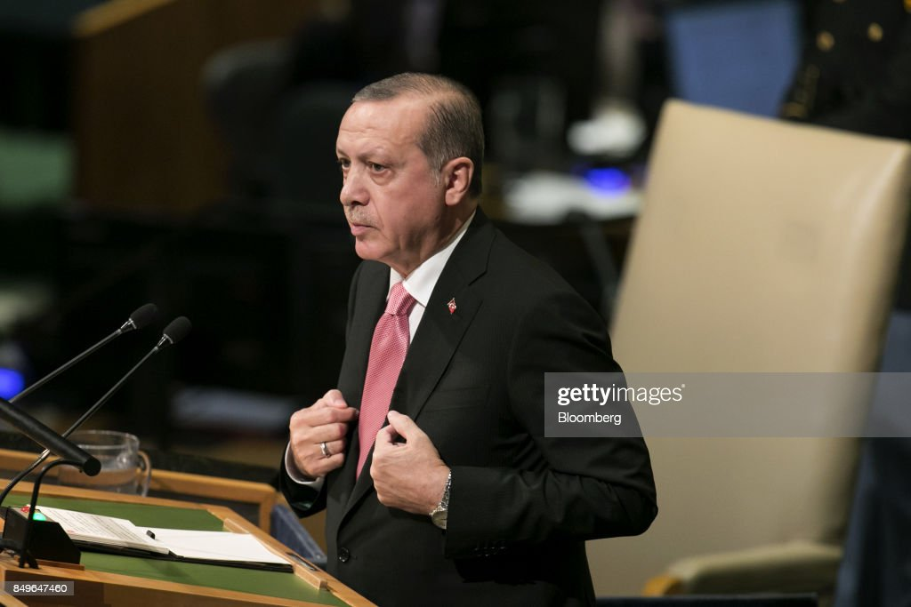Recep Tayyip Erdogan, Turkey's president, speaks during the UN General Assembly meeting in New York, U.S., on Tuesday, Sept. 19, 2017. Erdogan warned Iraq's Kurdistan Regional Government that it may lose 'opportunities at its hand' over insistence on holding an independence referendum. Photographer: Caitlin Ochs/Bloomberg via Getty Images