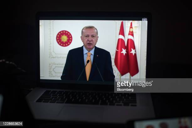 Recep Tayyip Erdogan, Turkey's president, speaks during the United Nations General Assembly seen on a laptop computer in Hastings on the Hudson, New...