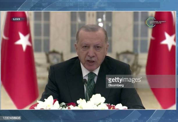 Recep Tayyip Erdogan, Turkey's president, speaks during the virtual Leaders Summit on Climate in a video screenshot on Thursday, April 22, 2021....