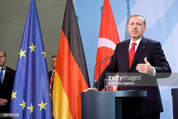 Recep Tayyip Erdogan Turkish prime minister and chairman of the AKP gestures during his visit in Germany on October 31 2012 in Berlin Germany
