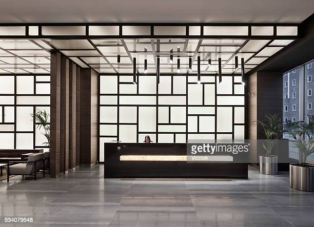 reception and lobby in new multifunctional complex in maslak district (istanbul) - 受付 ストックフォトと画像