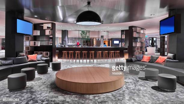 reception and lobby in the new hotel complex in moscow - hotel lobby stock pictures, royalty-free photos & images