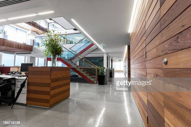 Reception area in a modern, brightly lit office space