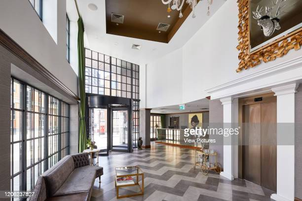 Reception area. The Curtain Hotel, London, United Kingdom. Architect: Dexter Moren Associates, 2017.