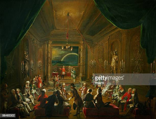 Reception at a Freemasons' lodge in Vienna In the foreground Count Eszterhazy on the bench on the right side probably Wolfgang Amadeus Mozart Mozart...