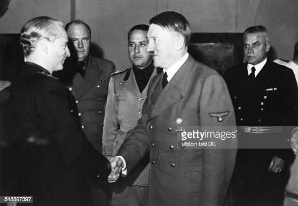 Reception at the Berghof on the Obersalzberg near Berchtesgaden for the foreign ministers of Spain and Italy Adolf Hitler welcomes Ramon Serrano...