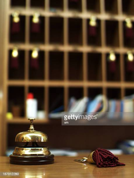 reception bell - hotel key stock photos and pictures