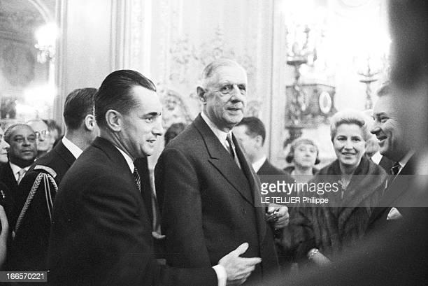 Reception Chaban Delmas Pairs le 16 novembre 1960 réception à laquelle assistent Jacques CHABANDELMAS président de l'assemblée nationale le président...