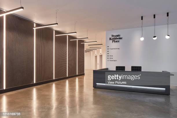 Reception desk at Rathbone Place. Rathbone Place, London, United Kingdom. Architect: Cove Burgess Architects , 2018..