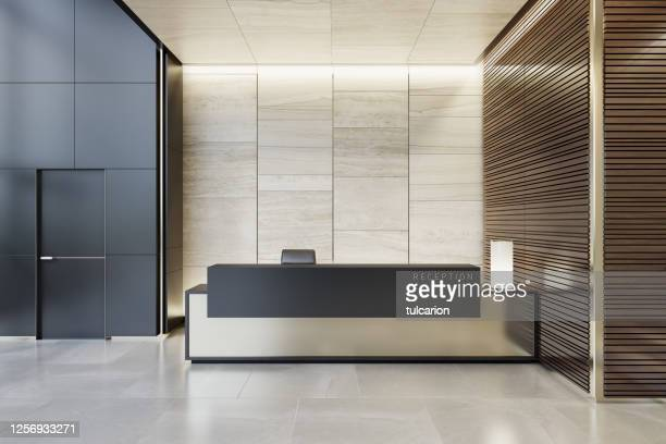 reception desk luxurious open space interior with marble tiles with copy space - entrance hall stock pictures, royalty-free photos & images