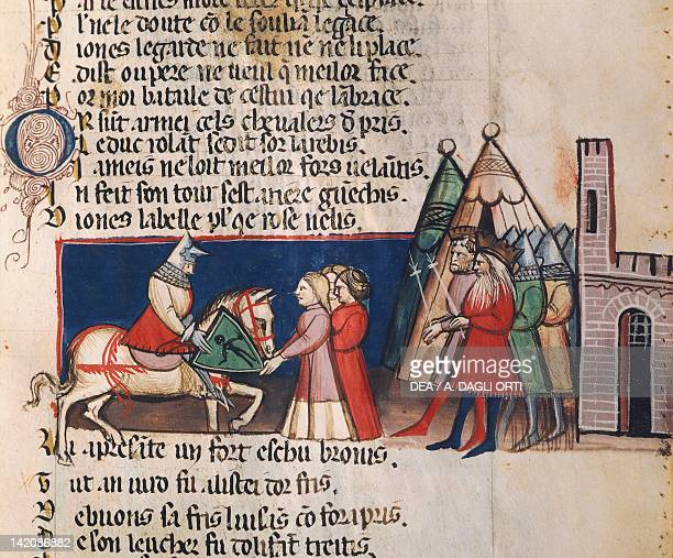 Reception for a noble knight miniature 14th Century
