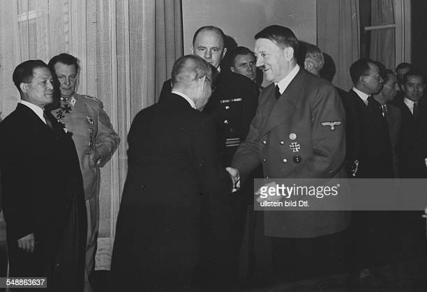 Reception for Matsuoka in the 'Fuehrer's apartment' in the Reich Chancellory in Berlin Adolf Hitler thanking the japanese foreign minister for his...