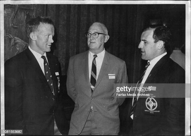 Reception for visiting Great Britain and New Zealand teams at City Tattersall's Club city Speaking together are LR Jim Bond L P Taylor Bev Risman...